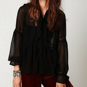 FREE PEOPLE || Beautiful Black Boho Marquee Blouse